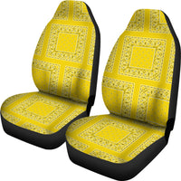 Sunshine Yellow Bandana Car Seat Covers - Patches