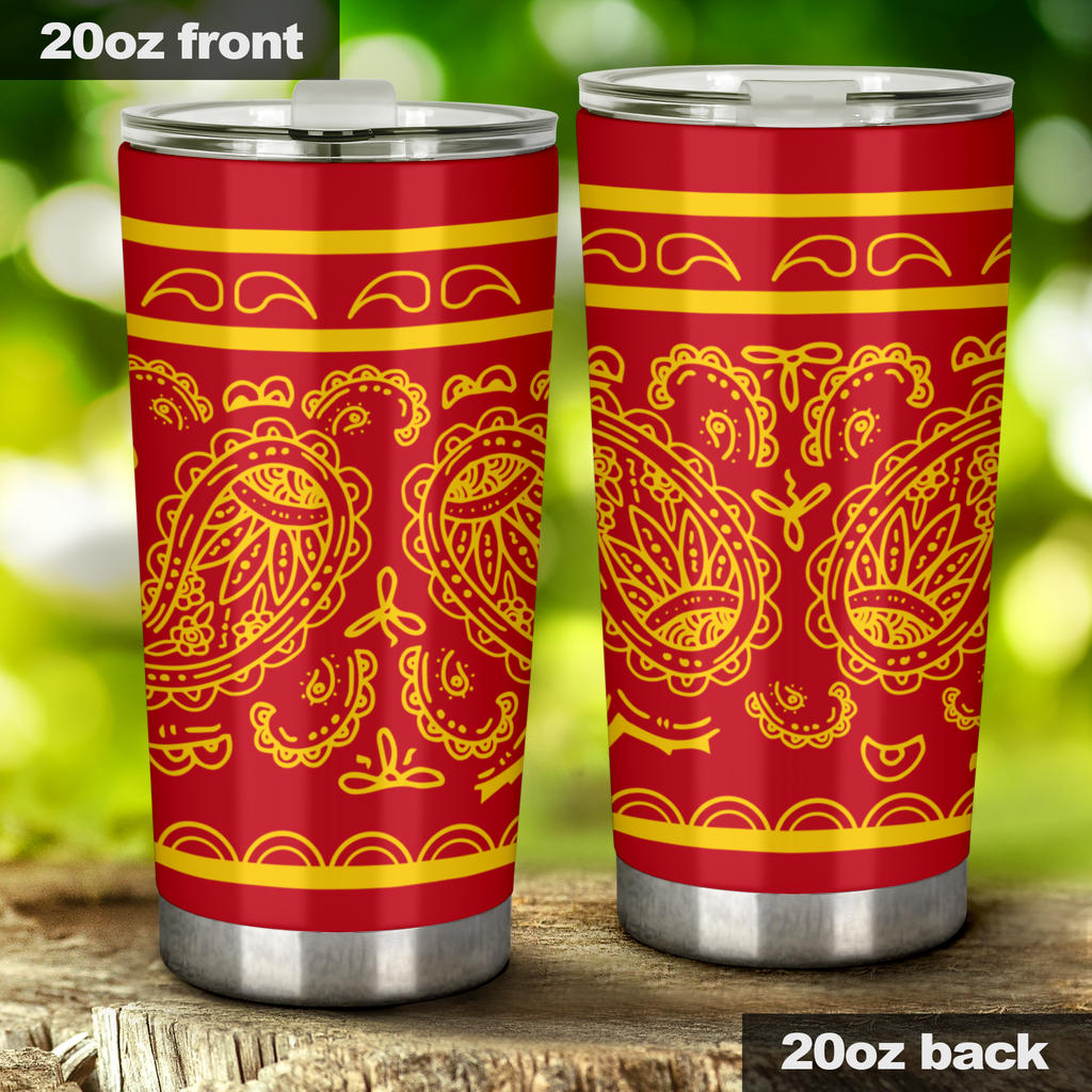 red and yellow bandana tumbler