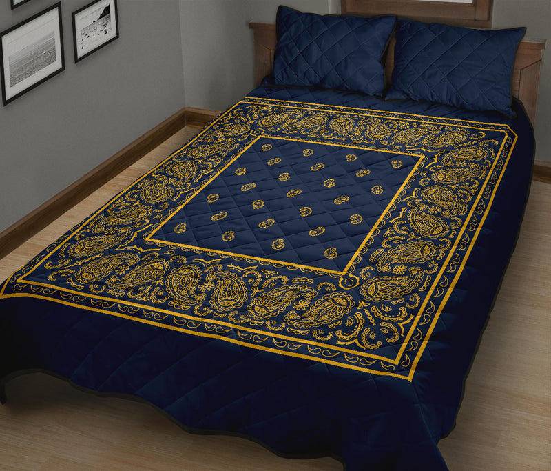 Navy and Gold Bandana Bed Quilts with Shams