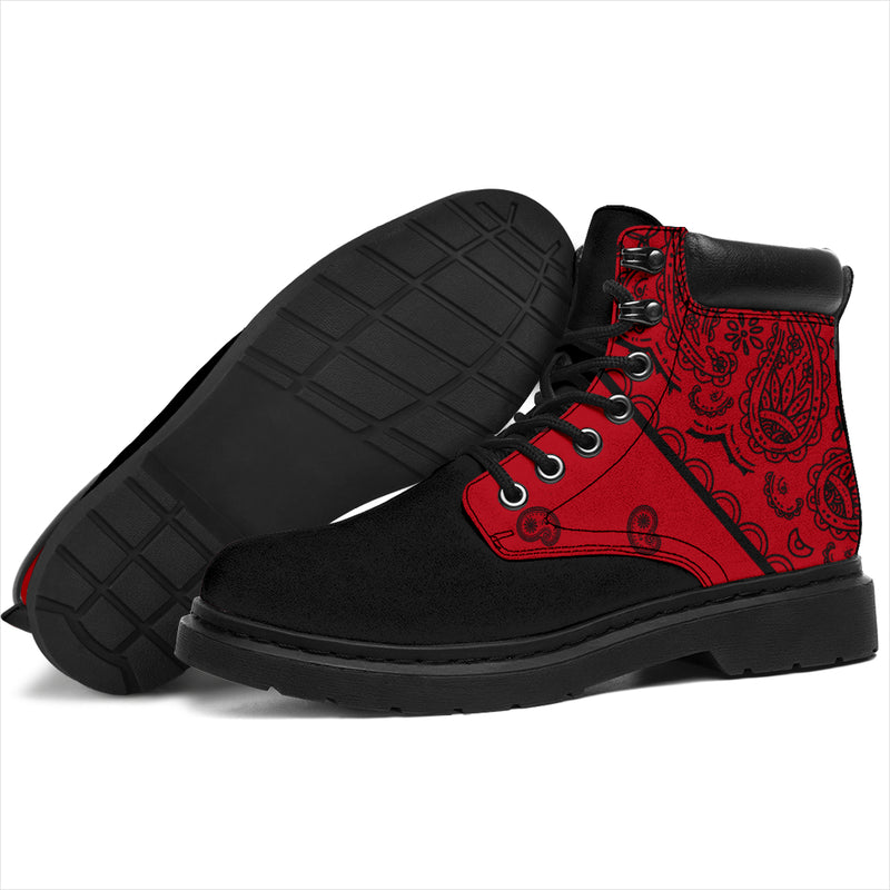 Red and Black Bandana Blackout All Season Boots