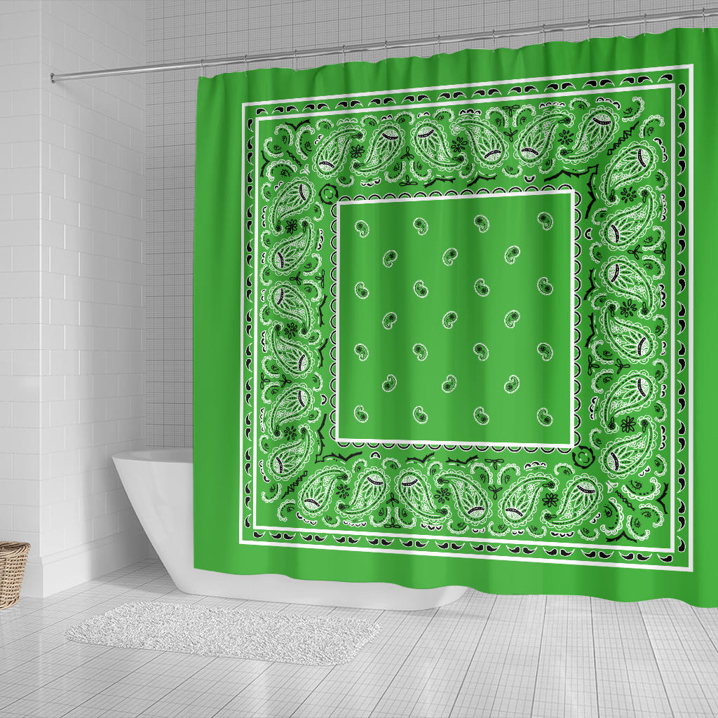 Lime Green Bandana Shower Curtains