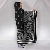 Black Bandana Hooded Blanket Side View