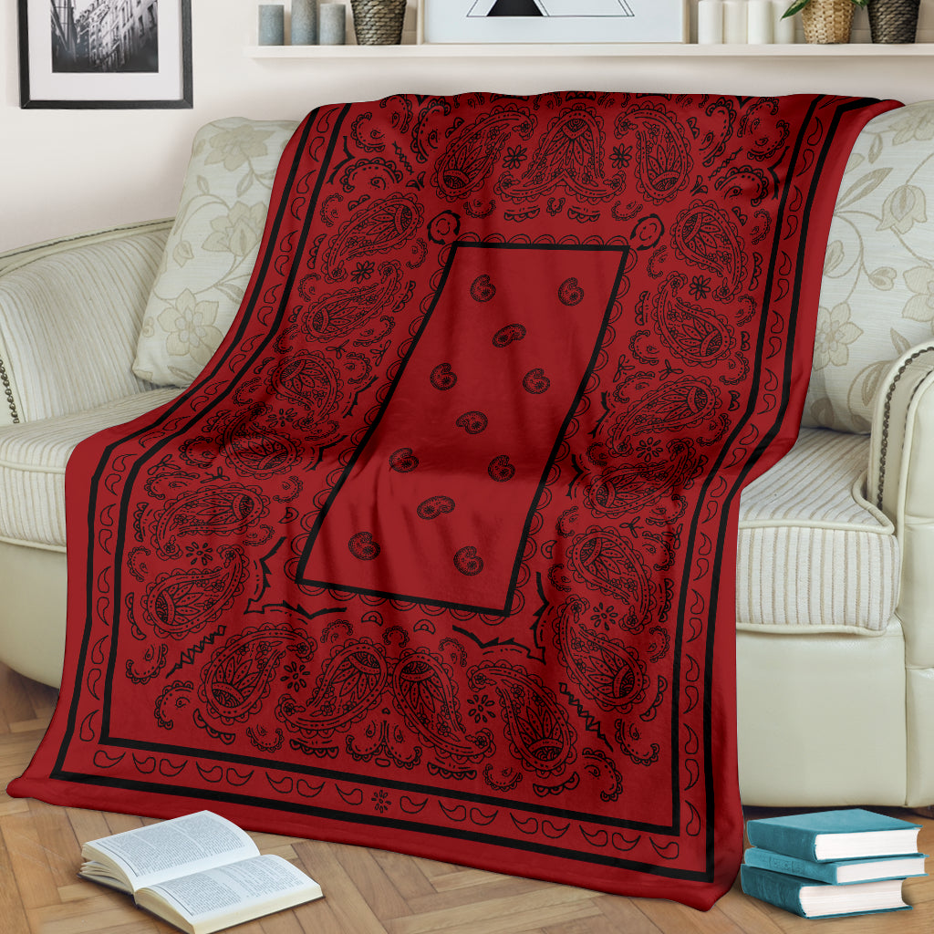 Red with Black Bandana Fleece Throw Blanket