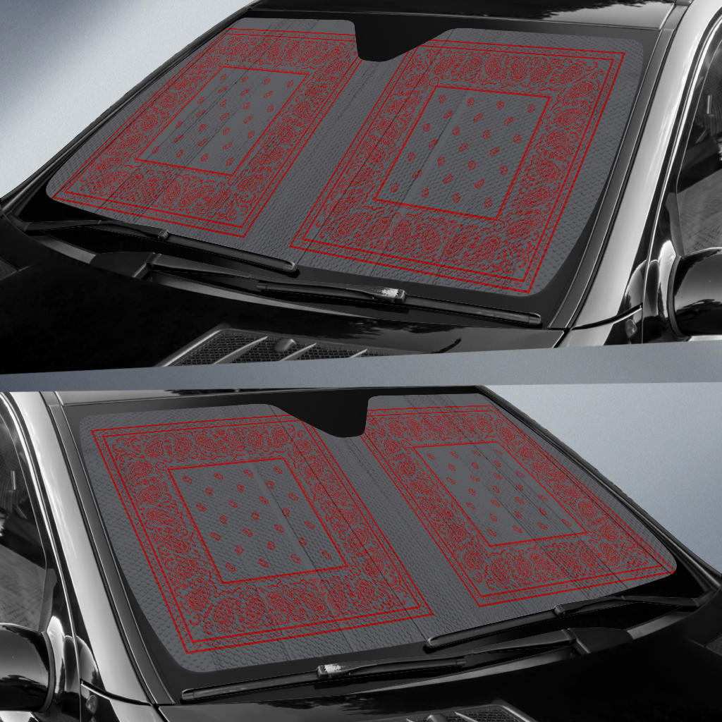 Gray and Red Bandana Car Window Shade