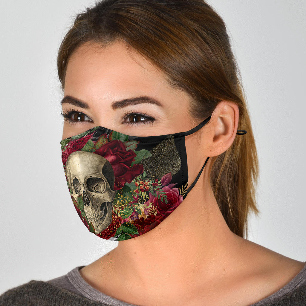 Skulls and Roses Adjustable Face Mask