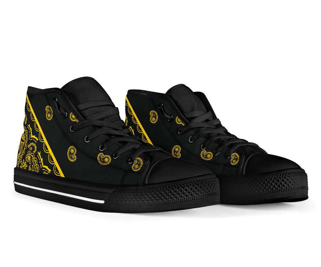 Black Gold Bandana High Top Sneakers - No Box