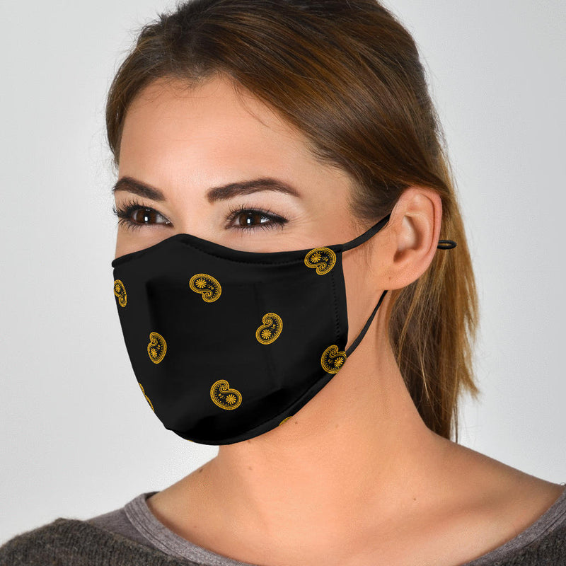 Adjustable Black Gold Paisley Face Mask with 5 Layer Filters