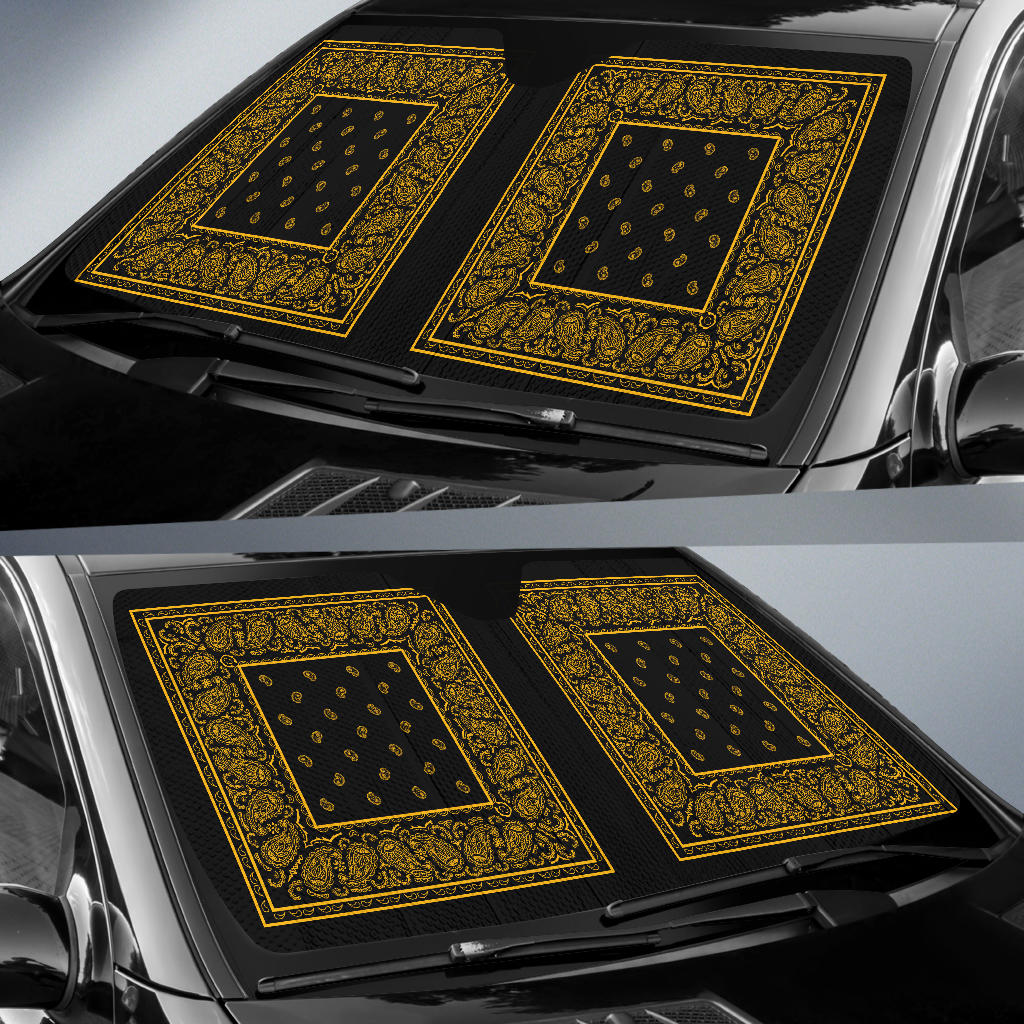 Black Gold Bandana Car Window Shade