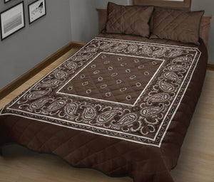Coffee Brown Bandana Bed Quilts with Shams