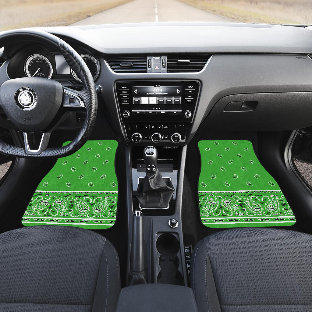 bright green car floor mats