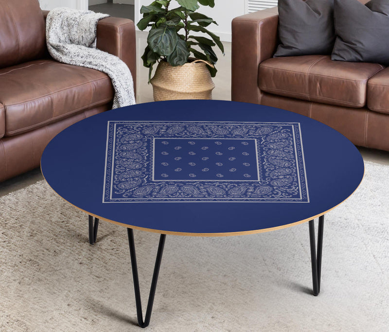 Blue and Gray Bandana Round Birch Coffee Tables