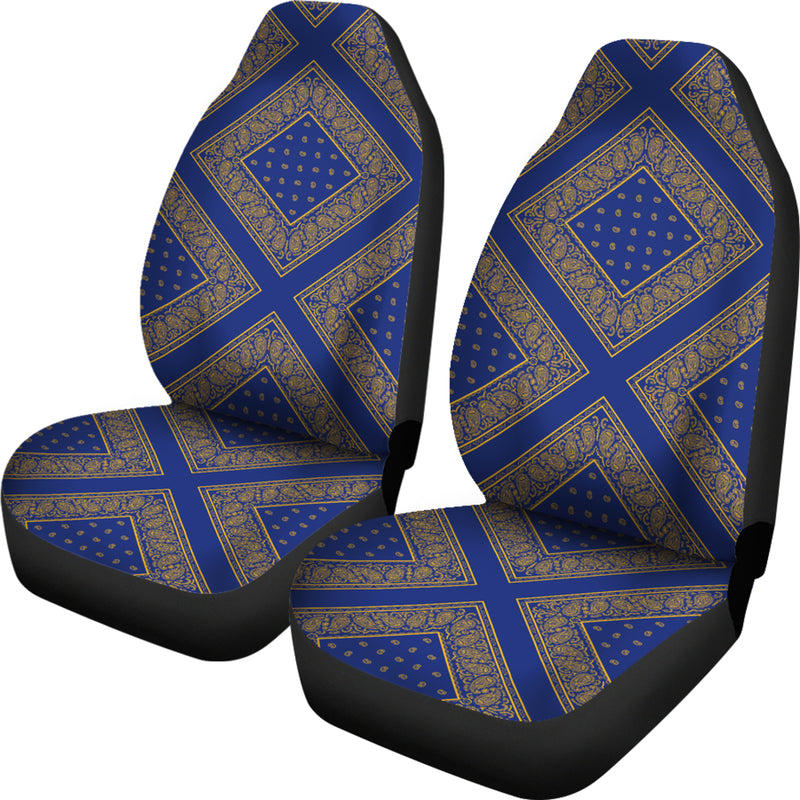 Blue Gold Bandana Car Seat Cover - Diamond