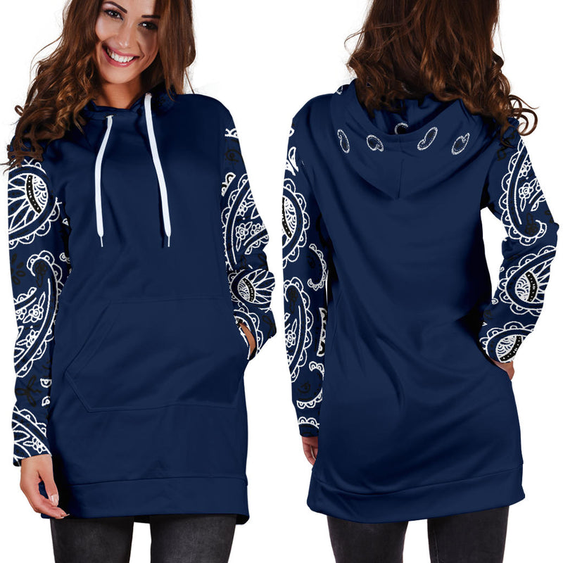 Front and Back Navy Blue Bandana Print Hoodie Dress