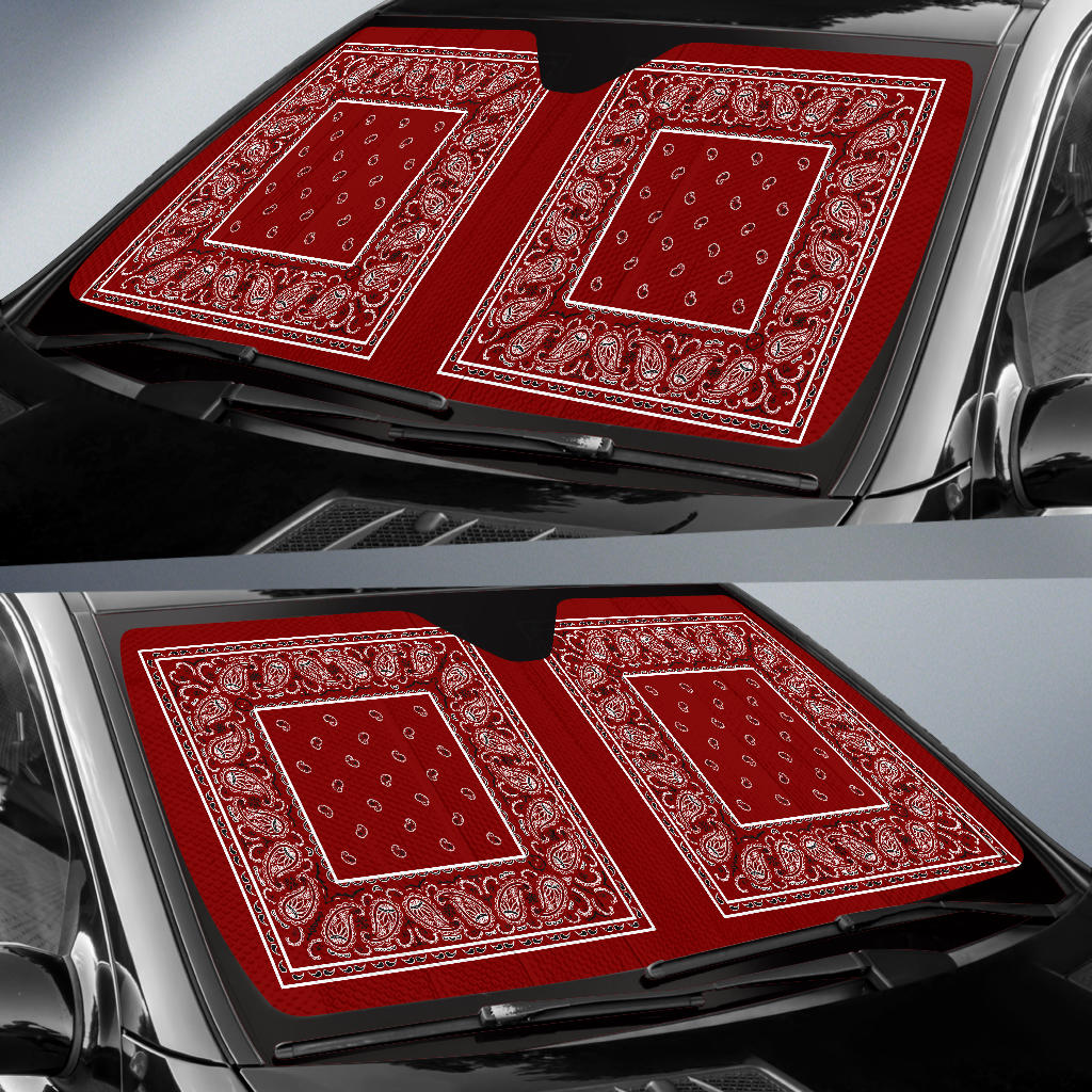 Maroon Bandana Car Window Shade