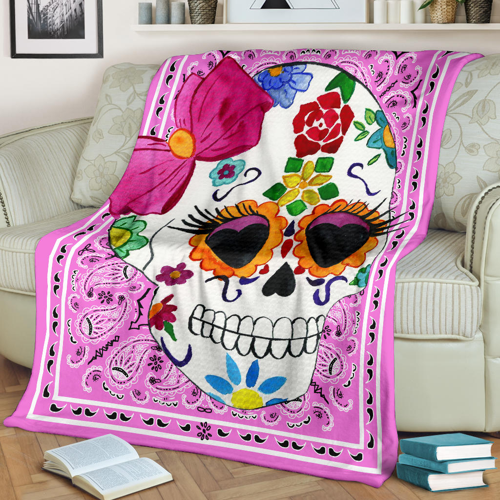pink bandana fleece throw with skull