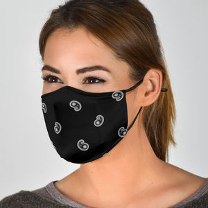 Adjustable Black Paisley Face Mask with 5 Layer Filters