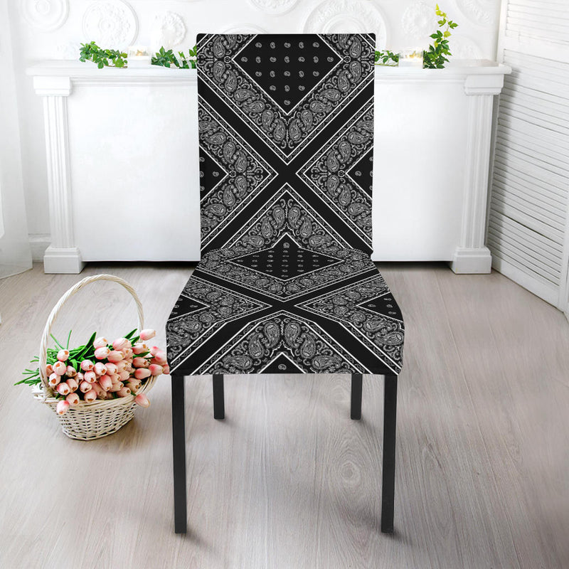 Black Bandana Dining Chair Covers - 4 Patterns