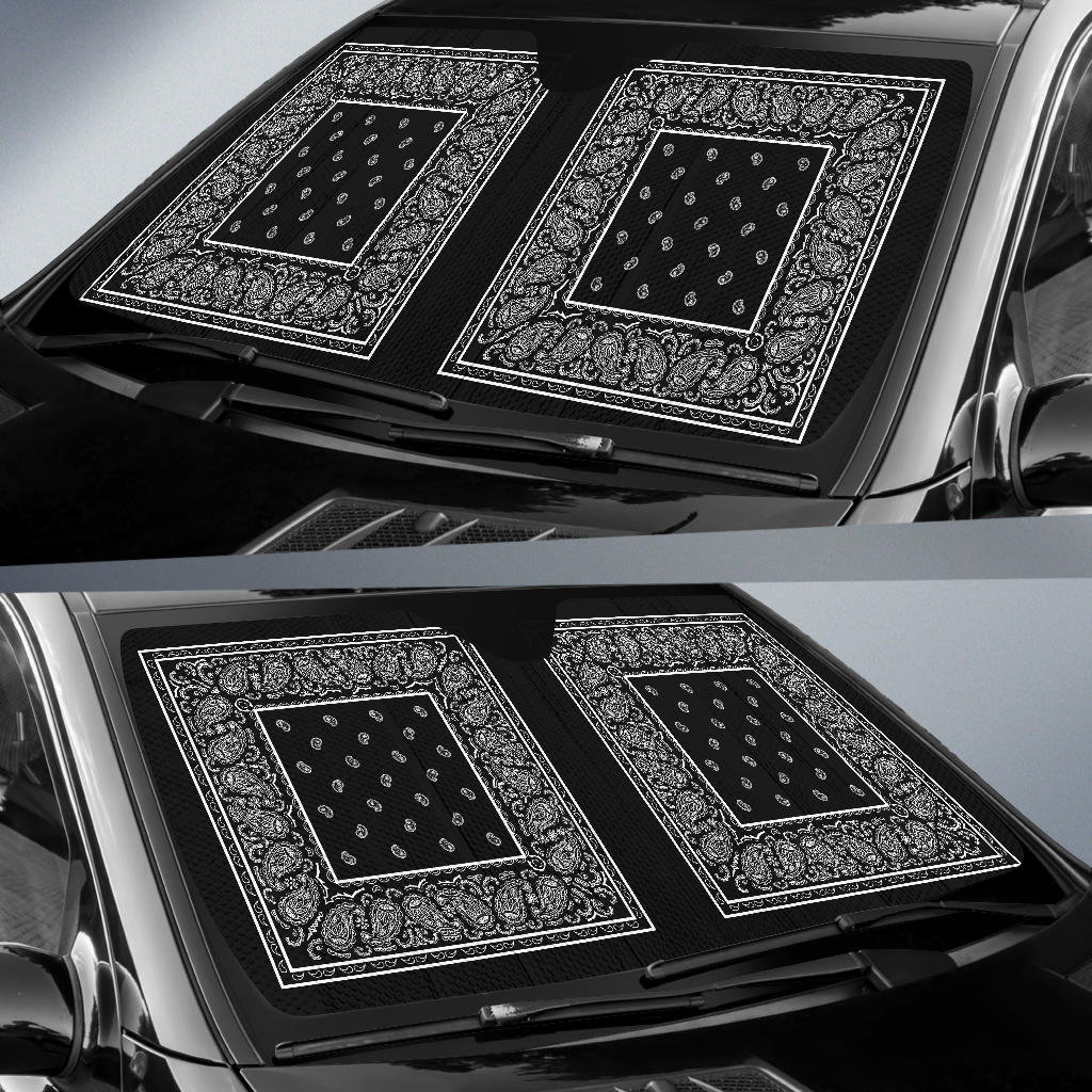 Black Bandana Car Window Shade