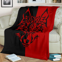 Red Wolf Tribal Fleece Throw Blanket