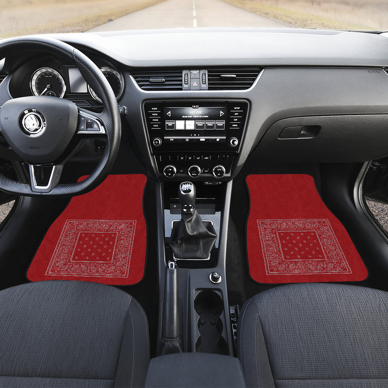 red and gray bandana car mats