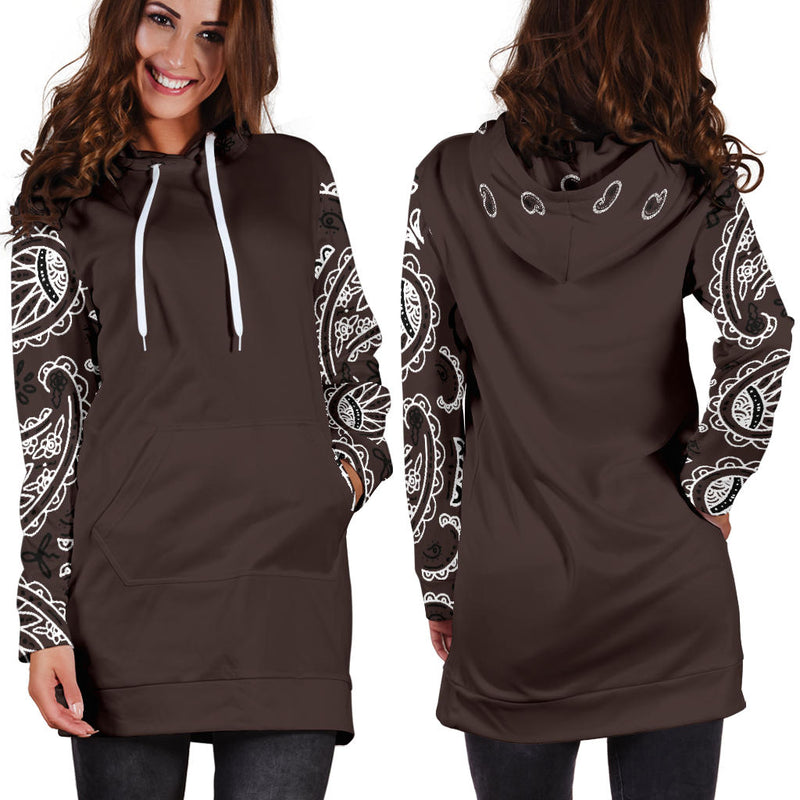 Front and Back Brown Bandana Hoodie Dress