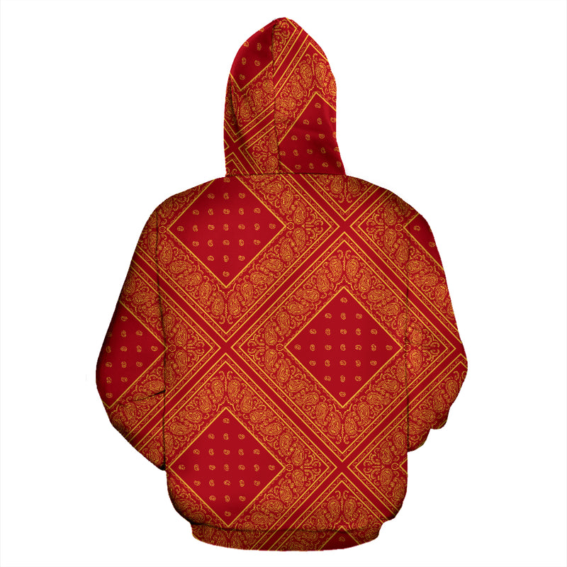 Red and Gold Bandana Patch Pullover Hoodie