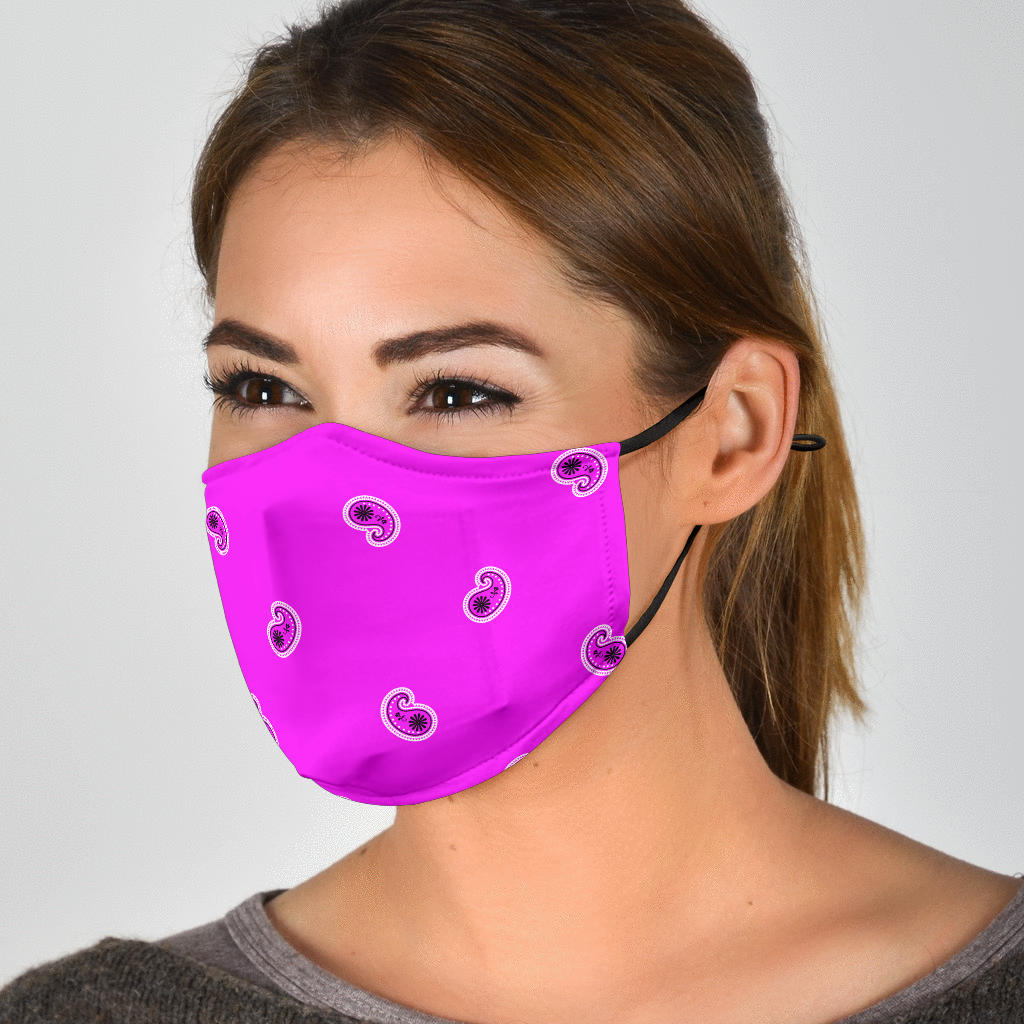 Adjustable Abruptly Pink Paisley Face Mask with 5 Layer Filters