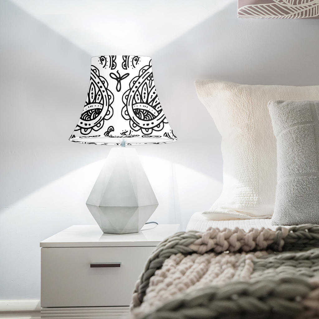 White Paisley Bell Lampshade