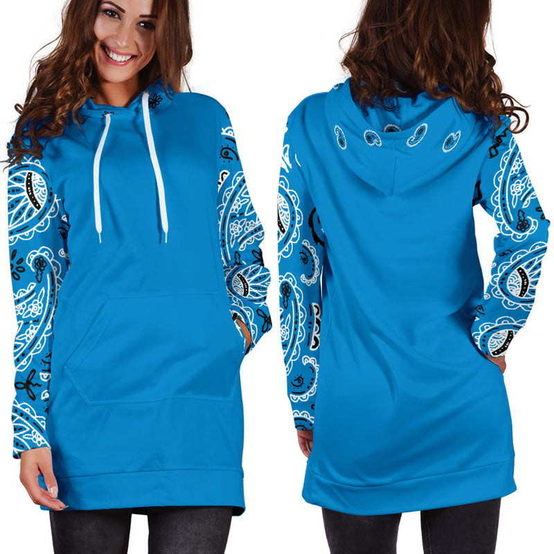 Front and Back Sky Blue Bandana Hoodie Dress