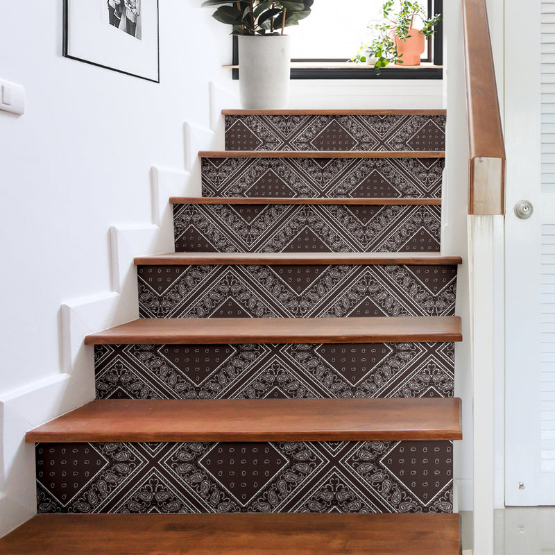 Coffee Brown Bandana Stair Stickers 6 Steps