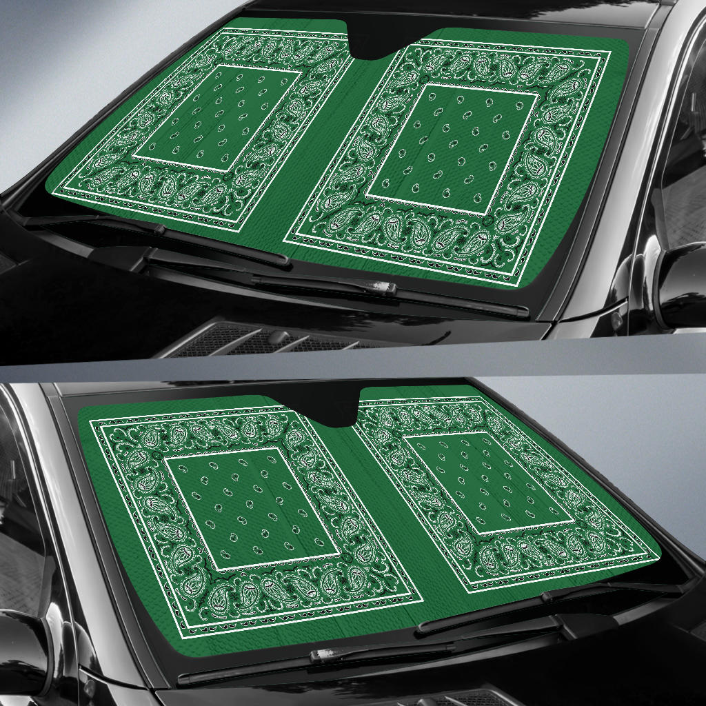 Classic Green Bandana Car Window Shade