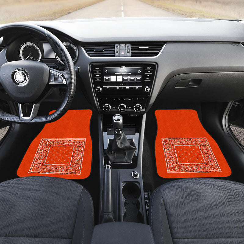 orange bandana lowrider floor mats