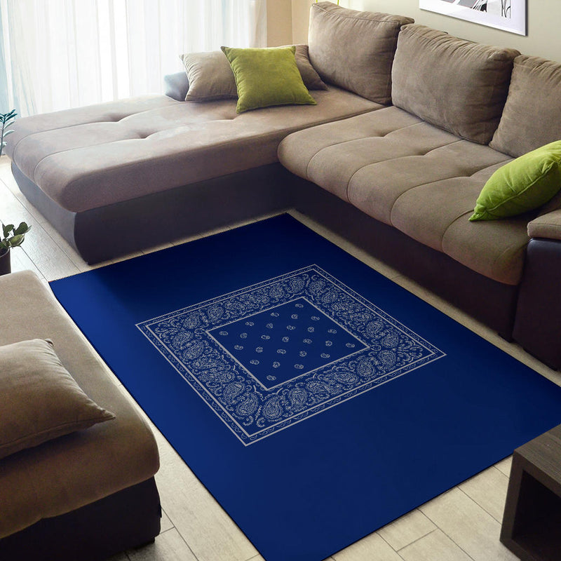 Blue and Gray Bandana Area Rugs - Minimal