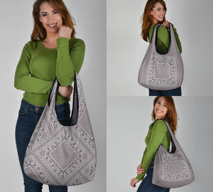 gray bandana shopping bags