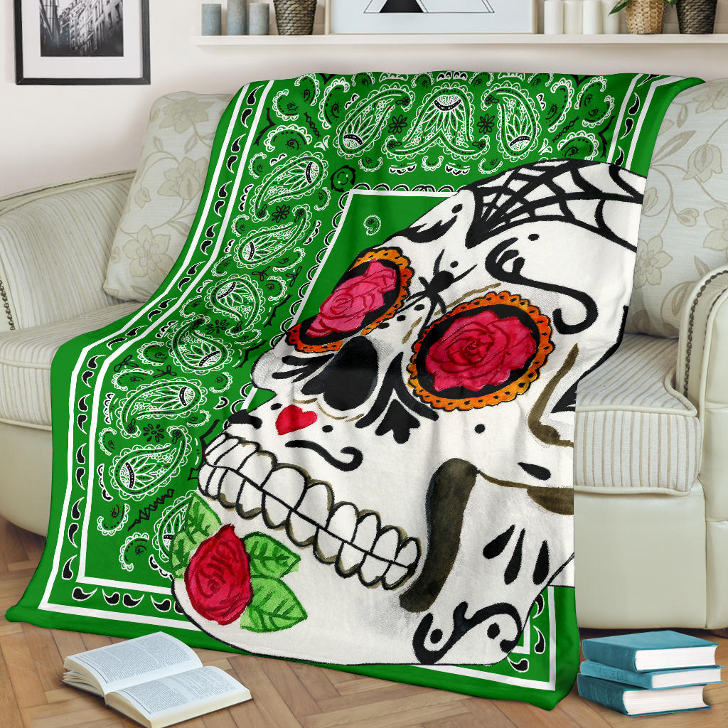 Ultra Plush Green Bandana Sugar Skull Throw