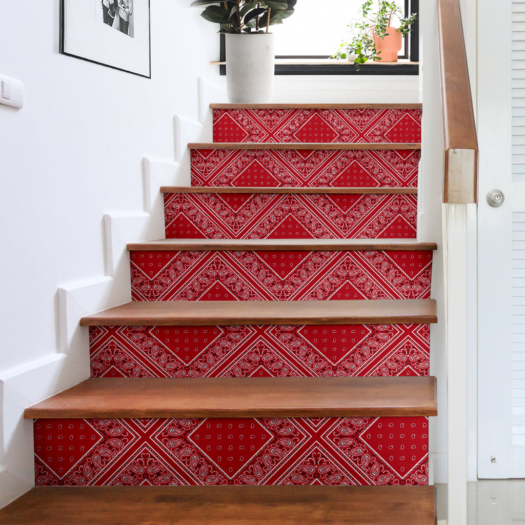 red bandana stair step stickers