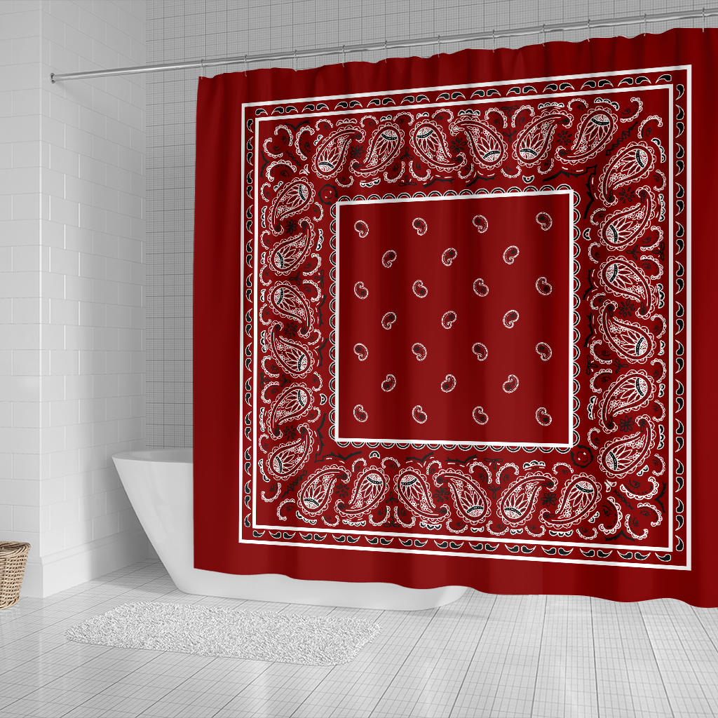 Maroon Bandana Shower Curtains