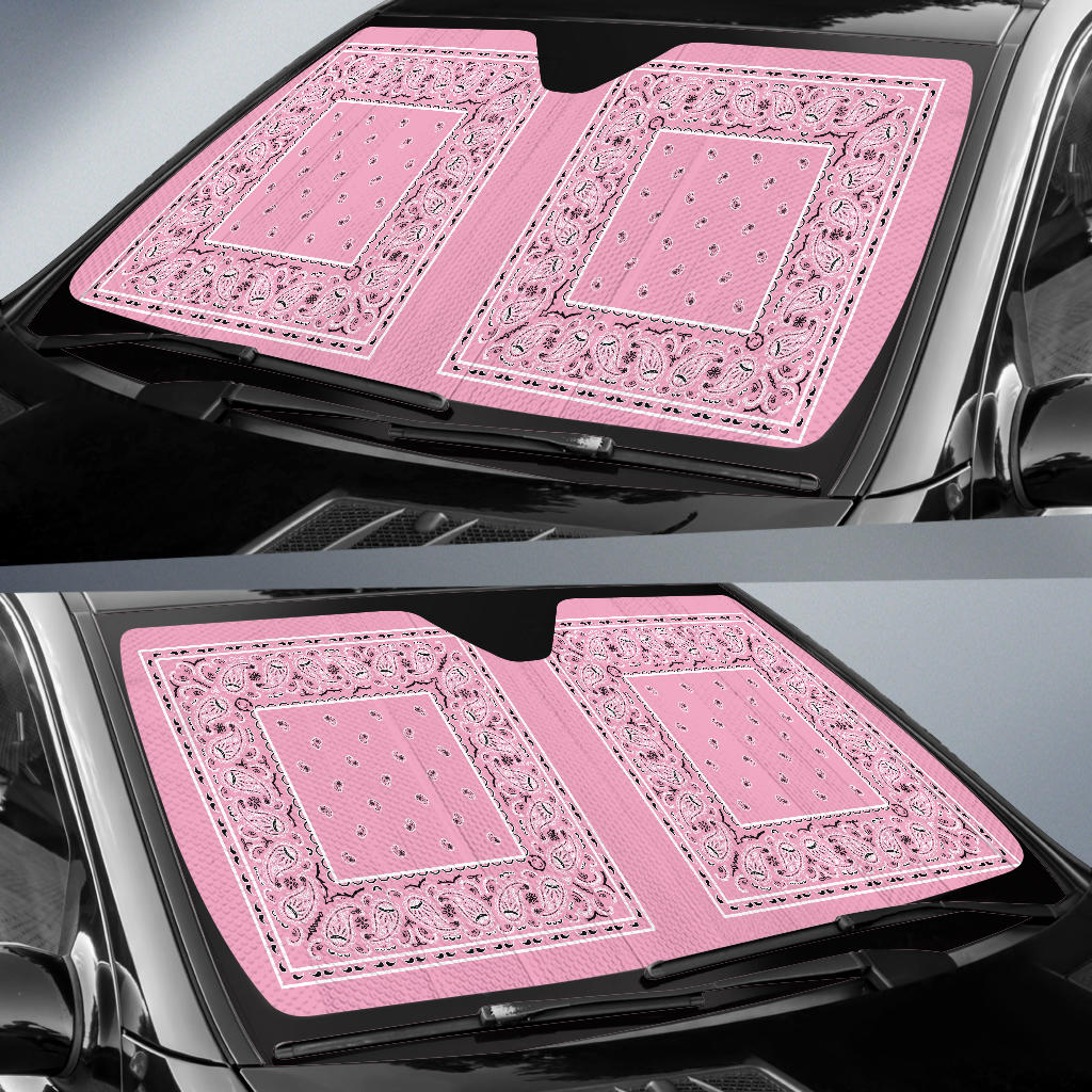 Light Pink Bandana Car Window Shade