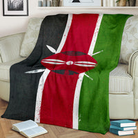 Kenyan Flag Fleece Throw Blanket