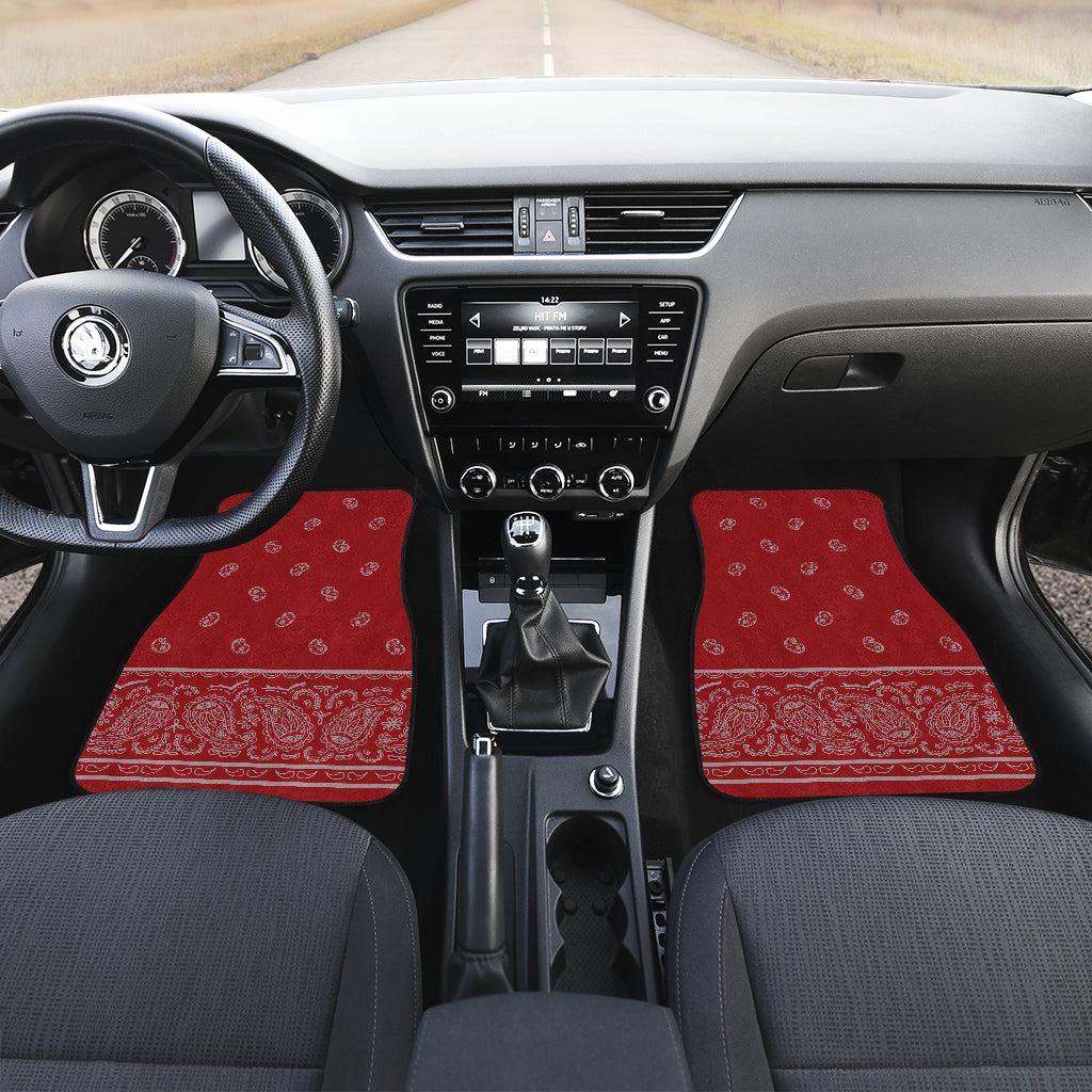 Quad Red and Gray Bandana Car Mats - Fancy