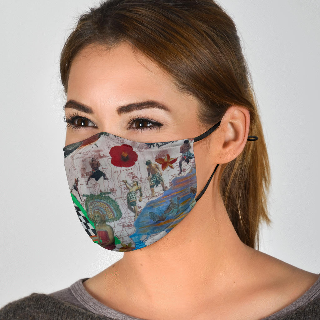 Artistic Asian Collage Face Mask with 5 Layer Filters