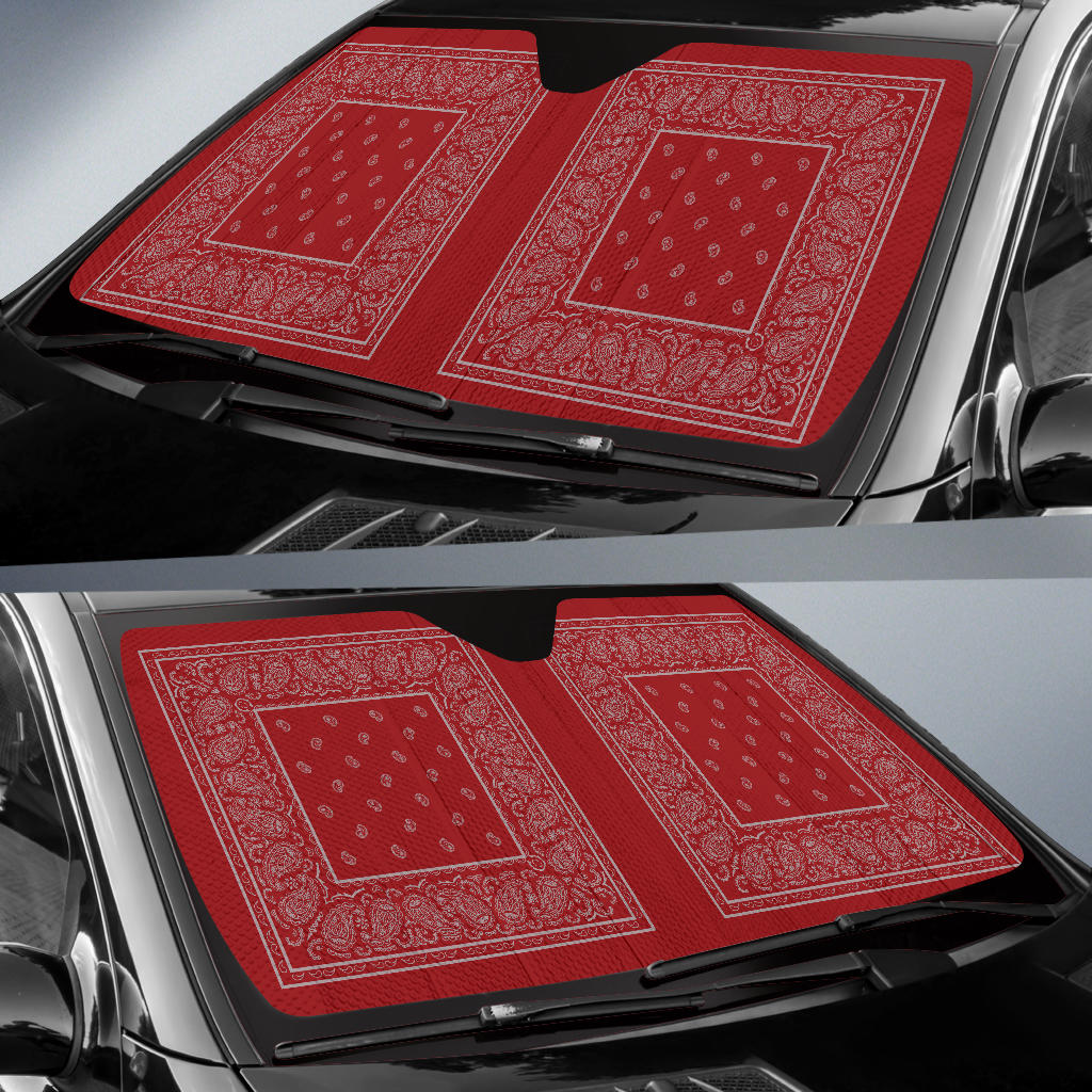 Red and Gray Bandana Car Window Shade