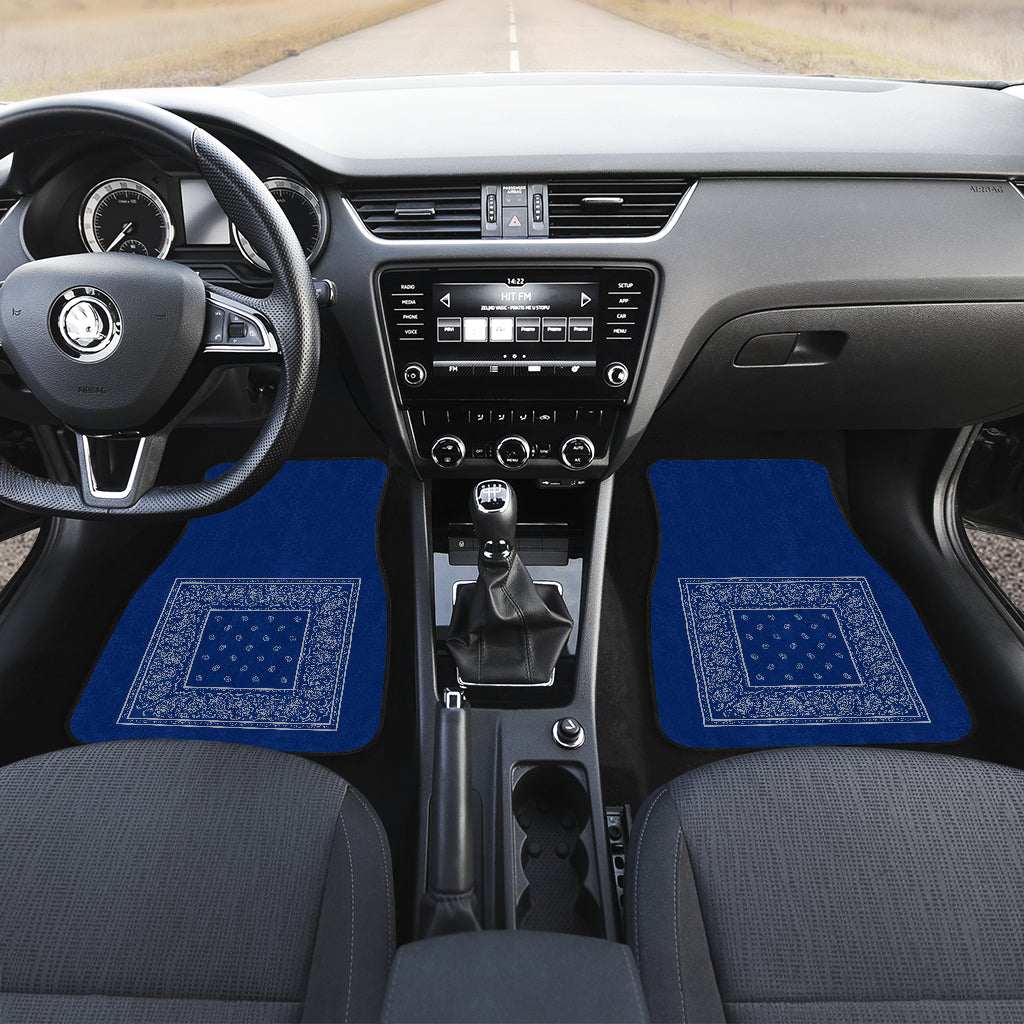 blue and gray bandana auto floor mats