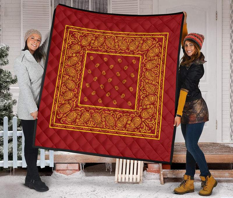 Red and Gold Bandana Quilt