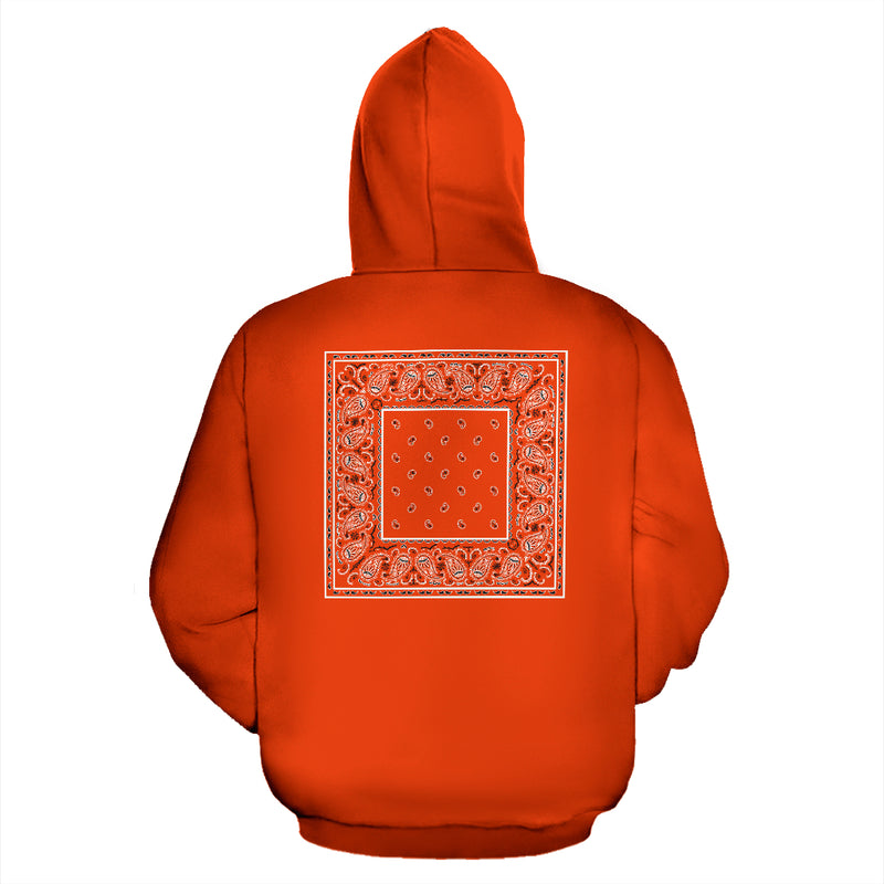 orange bandana zip hoodie back view