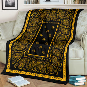 Black Gold Bandana Fleece Throw Blanket