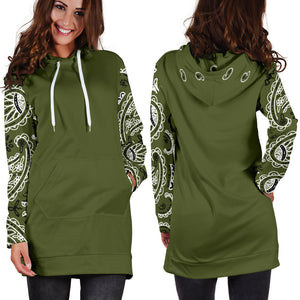 Army Green Bandana Hoodie Dress with jeans