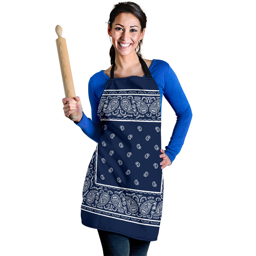 Navy and White Big Bandana Apron