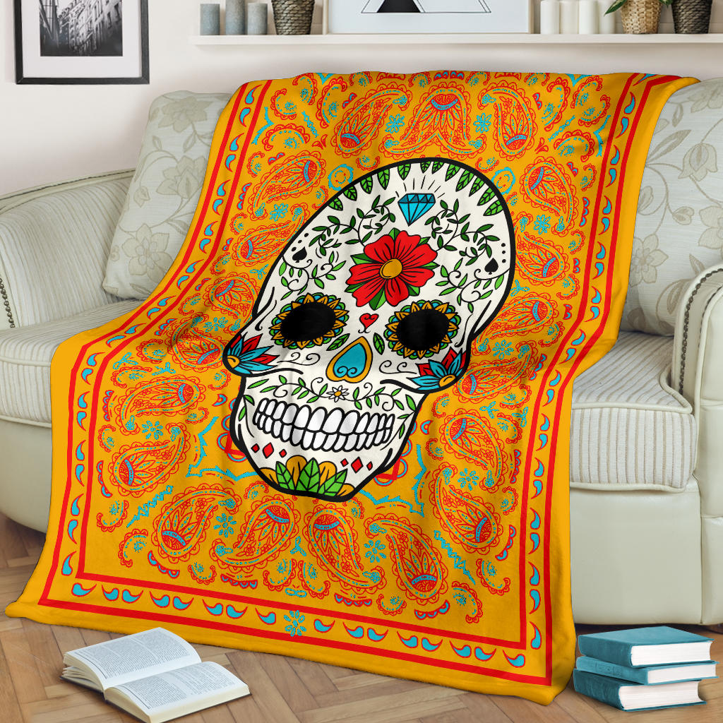 Orange Sugar Skull Fleece Blanket