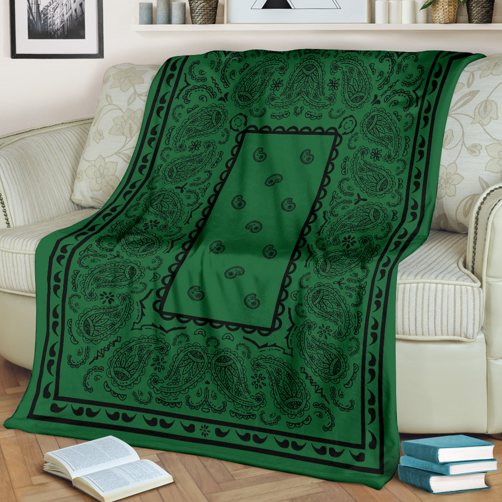 Green Bandana Throw Blanket